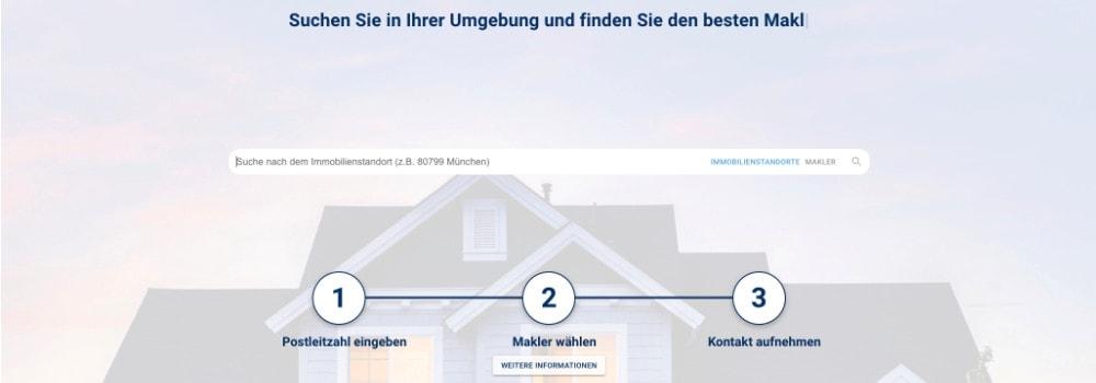 Screenshot der Webseite von properbird: Maklervergleich
